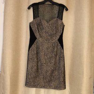 Catherine Malandrino tan/black mesh overlay dress